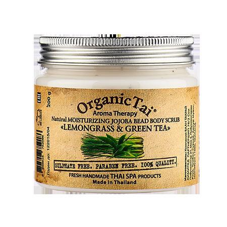 Купить Натуральный увлажняющий скраб для тела с гранулами жожоба «лемонграсс и зеленый чай» organic tai