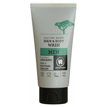 Купить Мужской гель для мытья волос и тела алое вера-баобаб urtekram