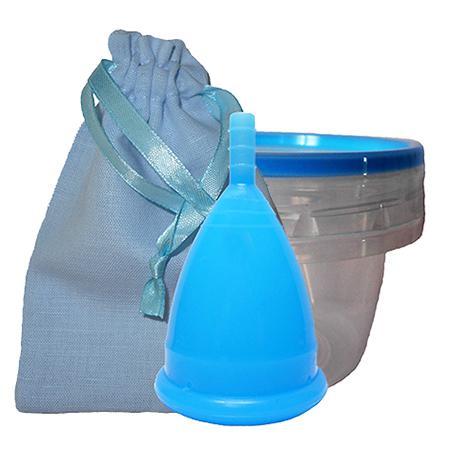 Купить Голубая менструальная капа в контейнере (размер l) cuplee