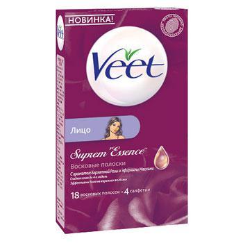 Купить Восковые полоски для лица бархатная роза с эфирным маслом veet