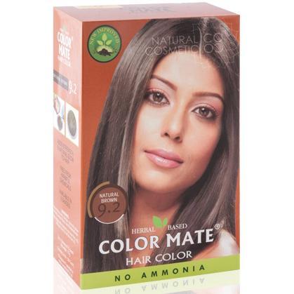 Купить Натуральная краска для волос на основе хны color mate (тон 9.2, натуральный коричневый) без аммиака