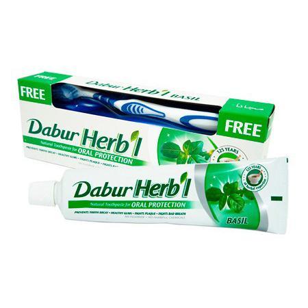 Купить Натуральная защитная зубная паста herb'l basil с базиликом+щетка в подарок dabur