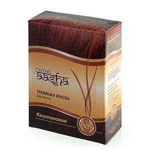 Купить Травяная краска для волос на основе индийской хны (цвет каштановый) ааша