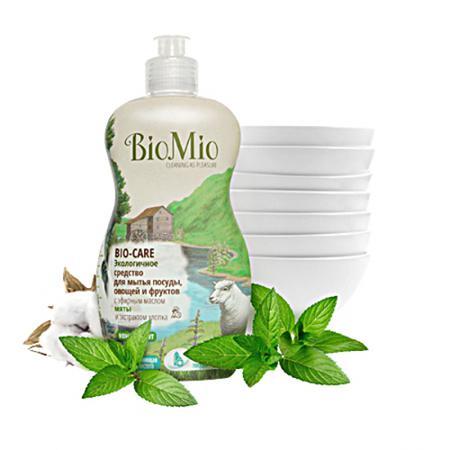 Купить Средство для мытья посуды, овощей и фруктов с эфирным маслом мяты, экстрактом хлопка и ионами серебра bio mio