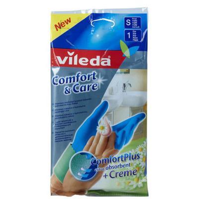 Купить Перчатки комфорт с кремом для чувствительной кожи рук размер s vileda