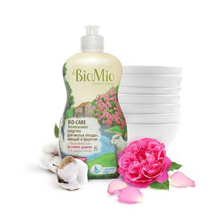 Купить Средство для мытья посуды, овощей и фруктов с эфирным маслом розового дерева, экстрактом хлопка и ионами серебра bio mio