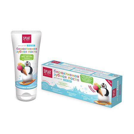 Купить Натуральная биоактивная зубная паста для детей от 2 до 6 лет фруктовое мороженое splat kids