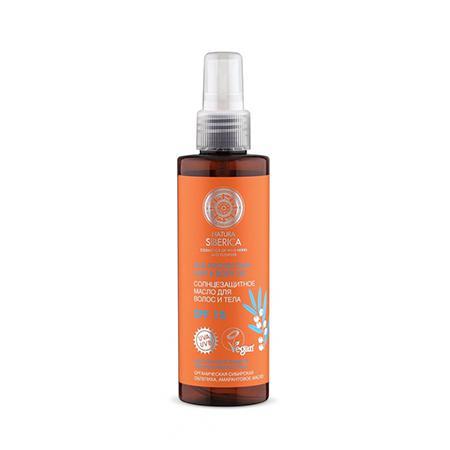 Купить Солнцезащитное масло для волос и тела spf 15 органическая сибирская облепиха и амарантовое масло natura siberica
