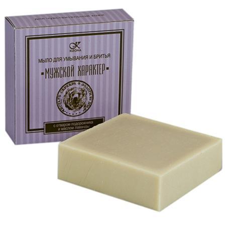 Купить Мыло для умывания и бритья «мужской характер» с отваром подорожника и маслом лаванды клеона