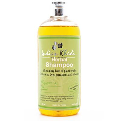 Купить Мягкий шампунь для чувствительный кожи головы с имбирем и лаймом indian khadi