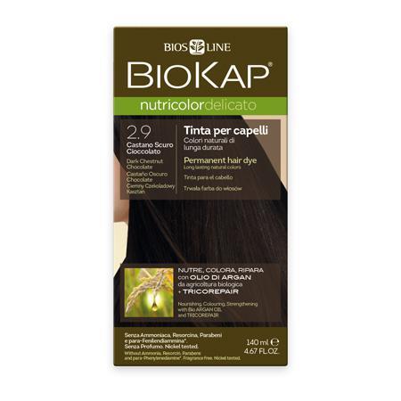 Купить Стойкая крем-краска для чувствительных волос biokap nutricolor delicato (цвет темно-каштановый шоколадный) biosline