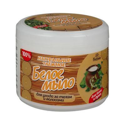 Купить Натуральное таежное мыло для бани и душа для ухода за телом и волосами белое floresan