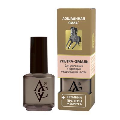 Купить Ультра-эмаль для утолщения и коррекции неоднородных ногтей с кремнием и протеином жемчуга «лошадиная сила» хорс форс