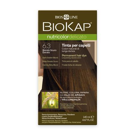 Купить Стойкая крем-краска для чувствительных волос biokap nutricolor delicato (цвет темно-золотистый блондин) biosline