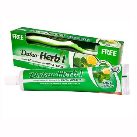 Купить Зубная паста (гель) освежающая с мятой и лимоном dabur + щётка (в подарок)