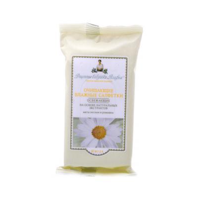 Купить Влажные салфетки освежающие мята лесная и ромашка 10шт. рецепты бабушки агафьи